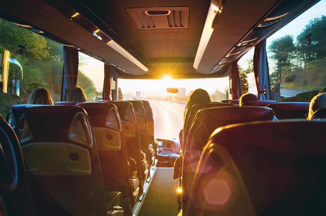 Businnenraum mit Sonnenuntergang